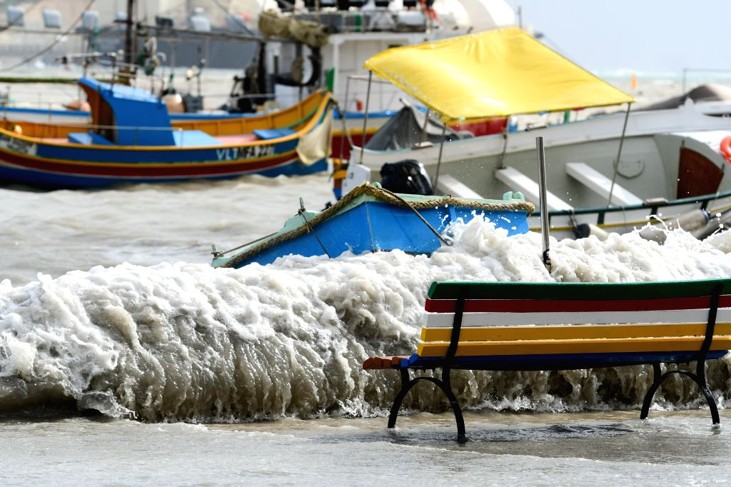 MARSAXLOKK (MALTA), Nov. 12, 2019 Waves batter the coast in Marsaxlokk, Malta, Nov. 12, 2019. Malta suffered gale-force winds on Tuesday.
