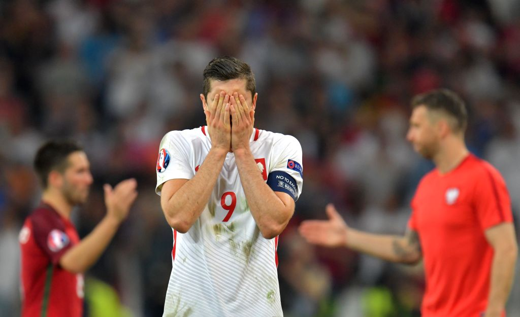 MARSEILLE, July 1, 2016 - Robert Lewandowski of Poland reacts after the Euro 2016 quarterfinal match between Portugal and Poland in Marseille, France, June 30, 2016. Portugal won in a penalty ...