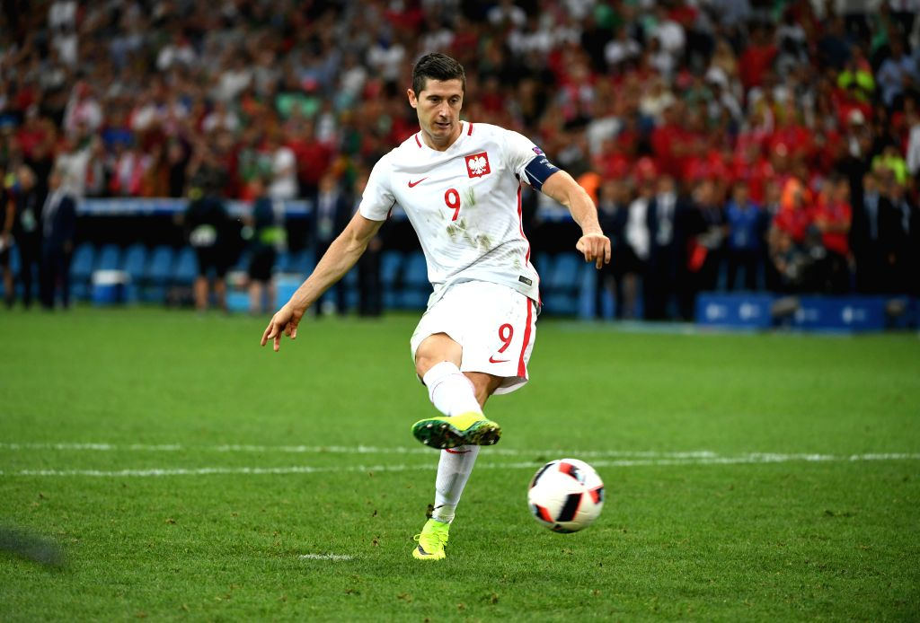 MARSEILLE, July 1, 2016 - Robert Lewandowski of Poland shoots during the penalty shootout during the Euro 2016 quarterfinal match between Portugal and Poland in Marseille, France, June 30, 2016. ...