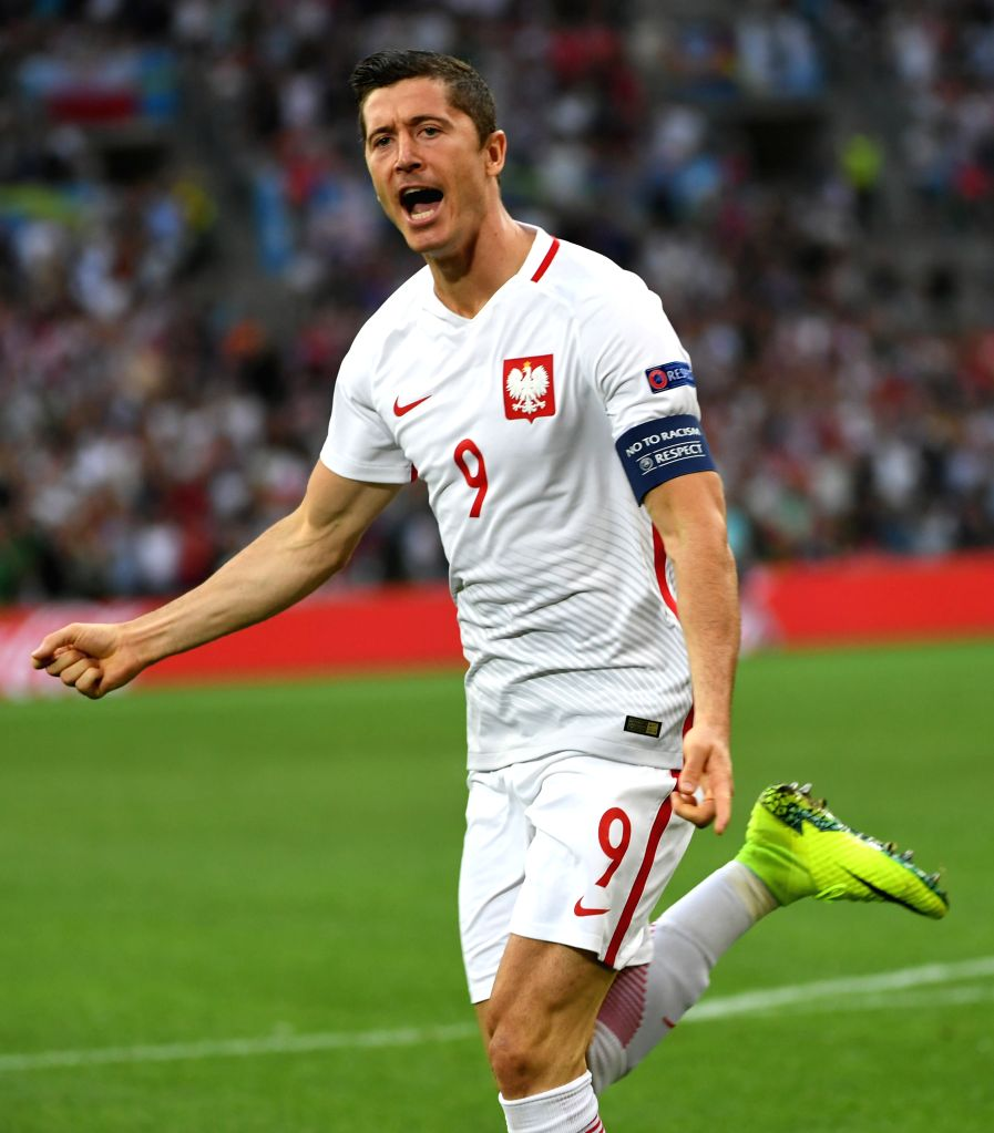 MARSEILLE, July 1, 2016 - Robert Lewandowski of Poland celebrates after scoring during the Euro 2016 quarterfinal match between Portugal and Poland in Marseille, France, June 30, 2016.