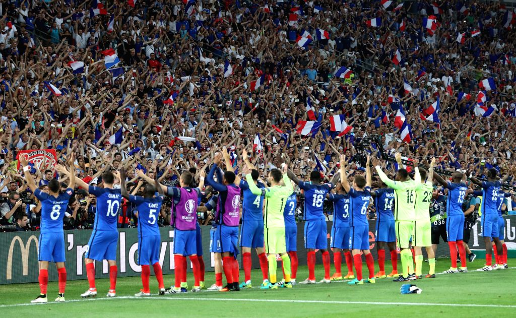 MARSEILLE, July 8, 2016 - Players of France greet the spectators after the Euro 2016 semifinal match between France and Germany in Marseille, France, July 7, 2016. France won 2-0 to enter the final.