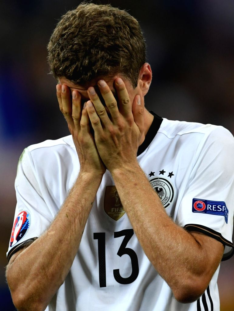 MARSEILLE, July 8, 2016 - Thomas Muller of Germany reacts after the Euro 2016 semifinal match between France and Germany in Marseille, France, July 7, 2016. France won 2-0 to enter the final.