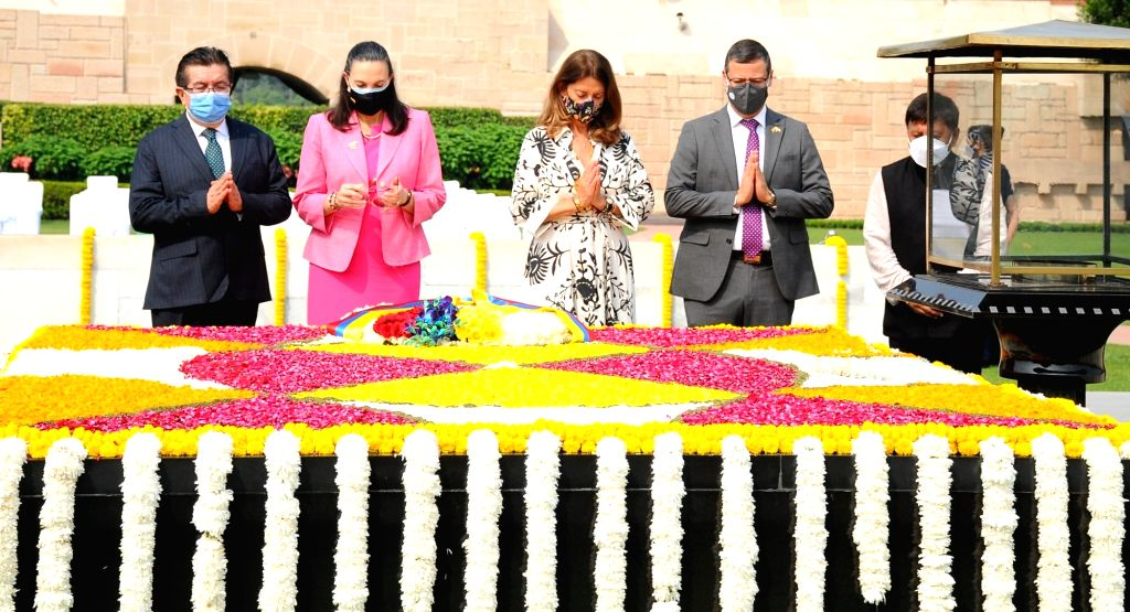 Marta Luc??a Ram??rez Blanco  Vice President of Colombia pays tribute to  Mahatma Gandhi on his birth anniversary at Rajghat, in New Delhi on Saturday October 02 2021.