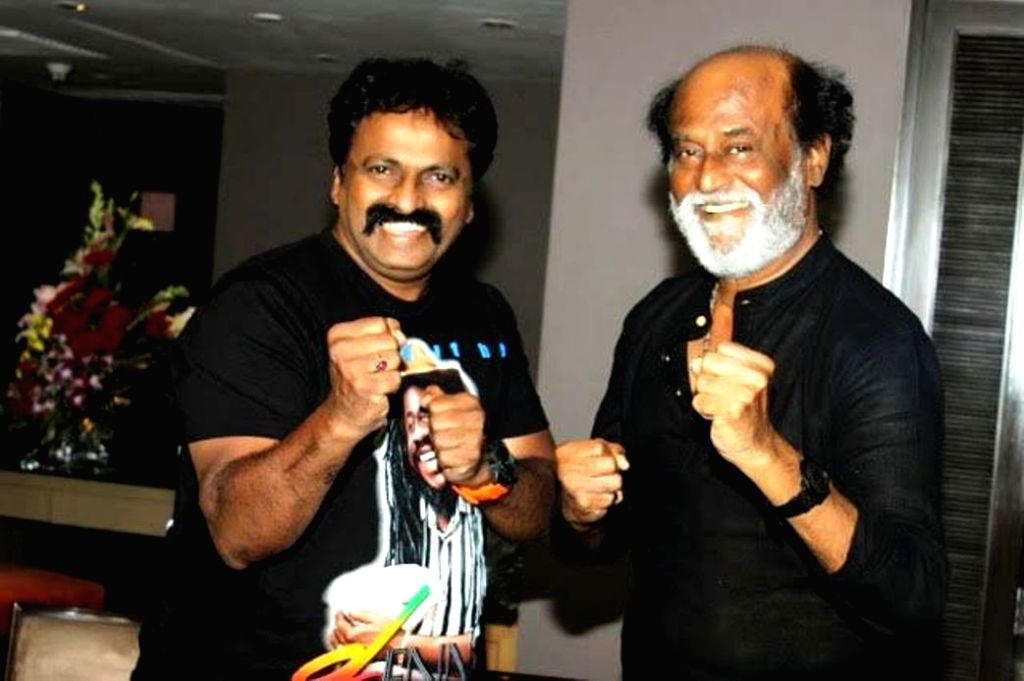 Martial Art expert Chitah Yajnesh Shetty meets actor Rajinikanth in Mumbai, on July 1, 2017. - Rajinikanth and Chitah Yajnesh Shetty