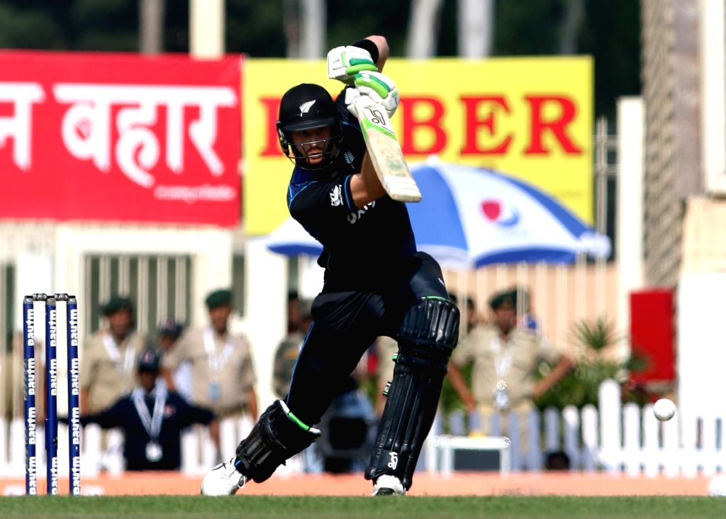 Martin Guptill of New Zealand in action during the fourth ODI match between India and New Zealand at JSCA International Stadium Complex in Ranchi on Oct 26, 2016.