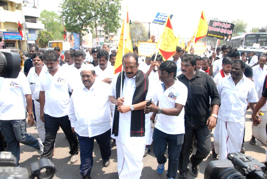 Marumalarchi Dravida Munnetra Kazhagam (MDMK) General Secretary Vaiko along with party workers participate in a protest rally against the setting-up of Neutrino observatory in Tamil ...