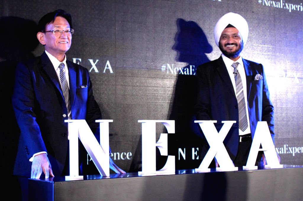 Maruti Suzuki CEO Kenichi and Director Marketing R S Kalsi at the launch of `NEXA` in New Delhi, on July 23, 2015.