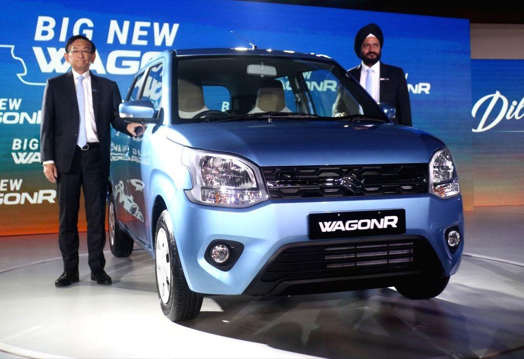 Maruti Suzuki India MD and CEO Kenichi Ayukawa and Senior Executive Director (Marketing and Sales) R.S. Kalsi at the launch of Big New WagonR in New Delhi, on Jan 23, 2019.