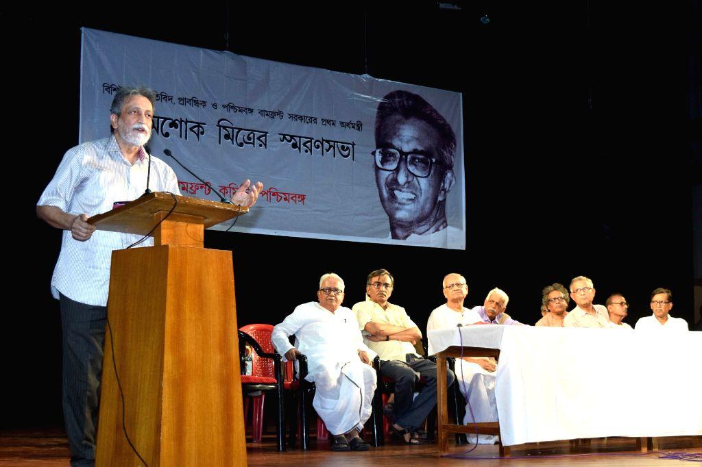 Marxist economist Prabhat Patnaik addresses at a meeting organised to remember Marxist economist Ashok Mitra, in Kolkata on May 29, 2018. Also seen Left front chairman Biman Bose, CPI(M) ... - Biman Bose and Surja Kanta Mishra