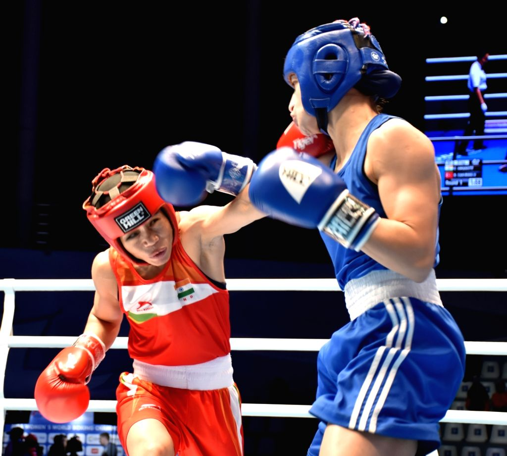 Mary Kom in action during her semi final encounter. - Mary Kom