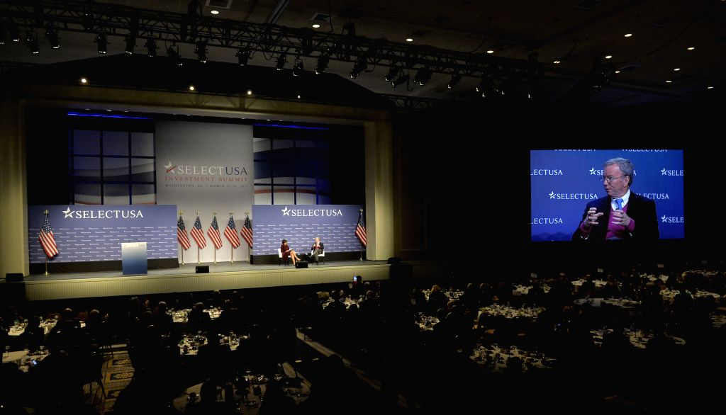 """Google executive chairman Eric Schmidt speaks during a plenary session on """"Training Your Skilled Workforce"""" at the SelectUSA Investment Summit at ..."""