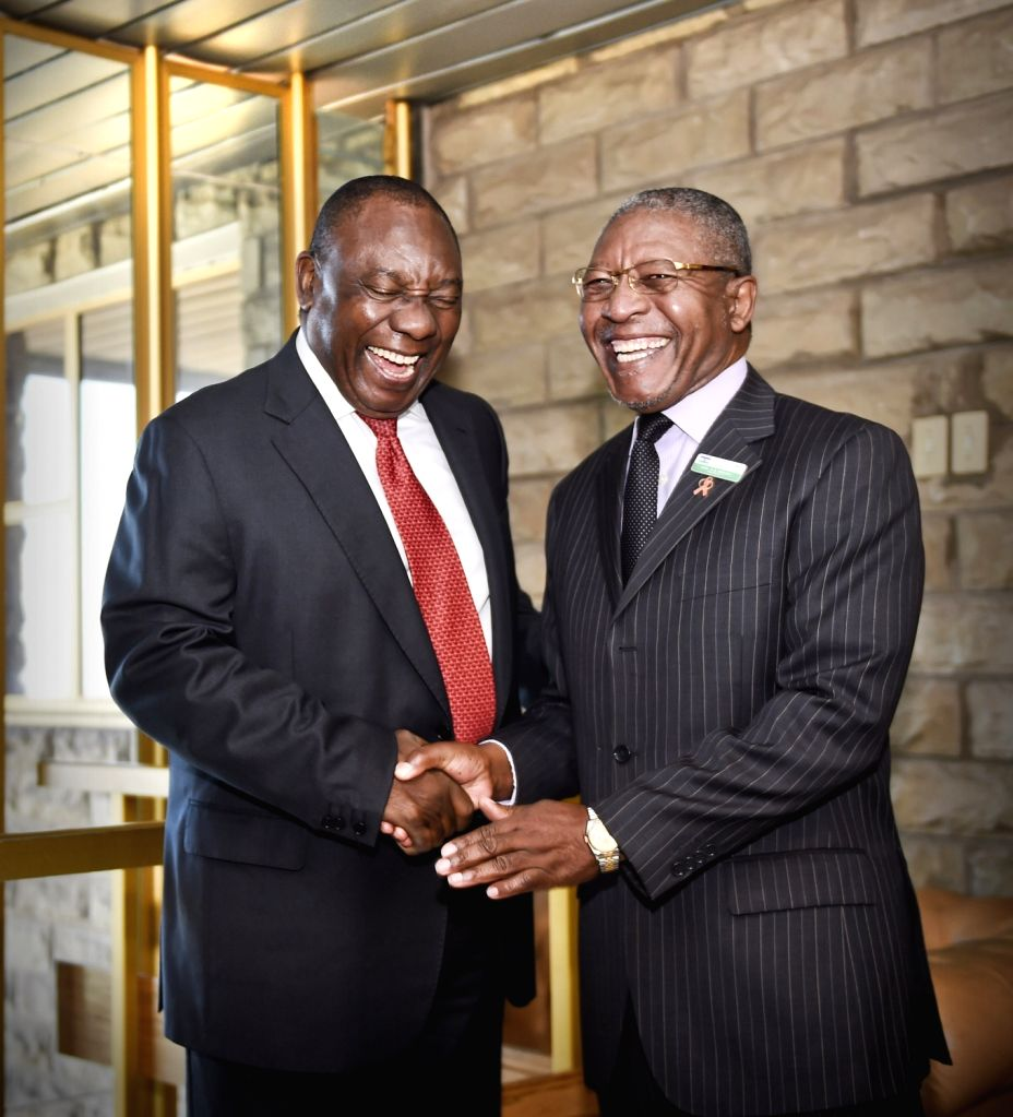 MASERU, June 23, 2016 - Visiting South African Deputy President Cyril Ramaphosa (L) shakes hands with Lesotho's Prime Minister Phakalitha Mosisili, in Maseru, Lesotho, June 23, 2016. South African ... - Phakalitha Mosisili
