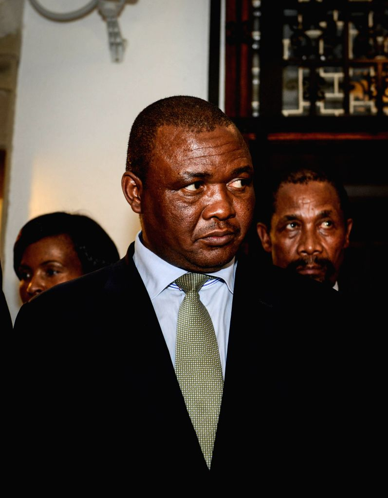 Lesotho's Deputy Prime Minister Mothetjoa Metsing receives an interview from the media after a meeting with visiting South African President Jacob Zuma (not in the .. - Mothetjoa Metsing