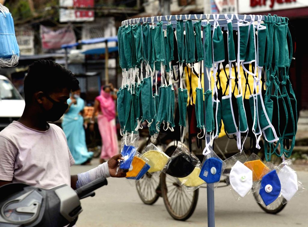 Masks on sale amid COVD-19 pandemic, at a streetside stall in Patna on July 30, 2020.