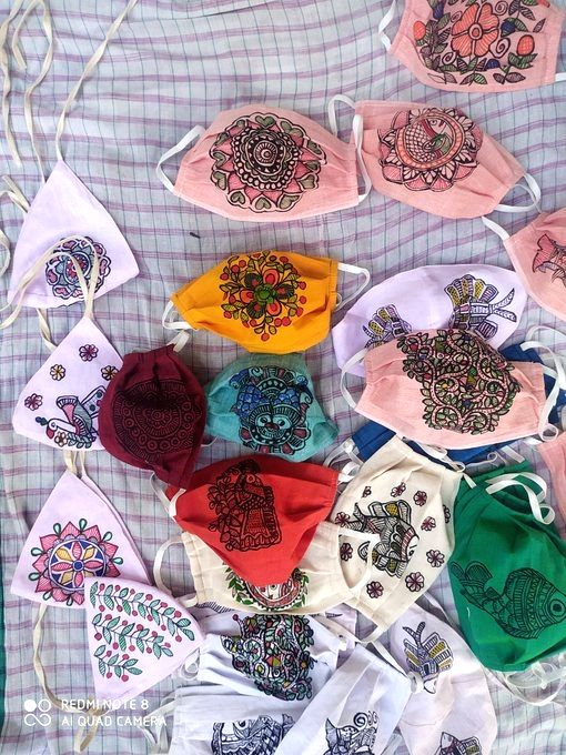 Masks with Madhubani painting reach foreign from Bihar.
