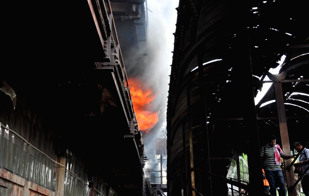 Massive fire breaks out at a chemical godown near Jagannath Ghat in Kolkata, on June 8, 2019.