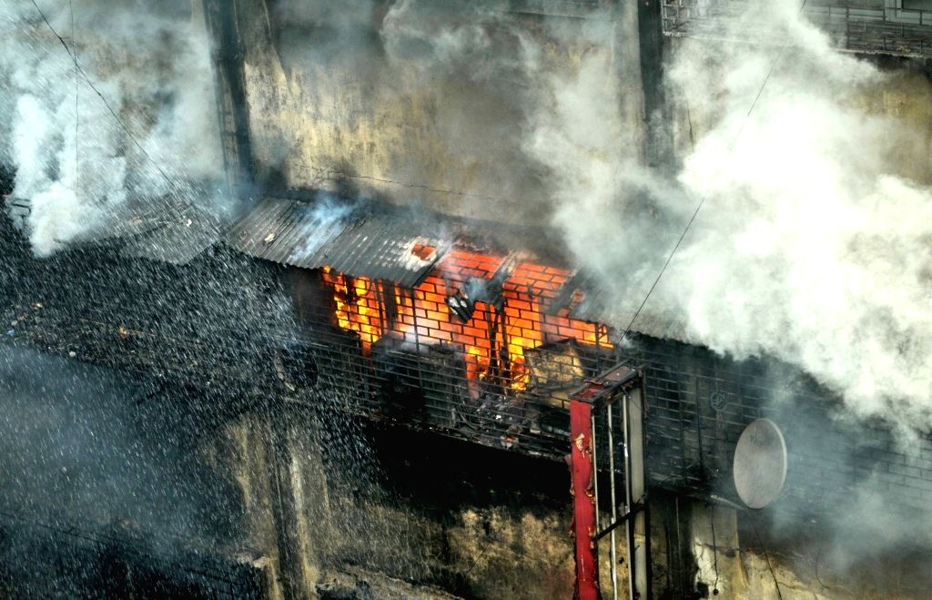 Massive fire breaks out in Central Kolkata's Bagri Market, on Sept 16, 2018. There were no reports of any casualty or injury.
