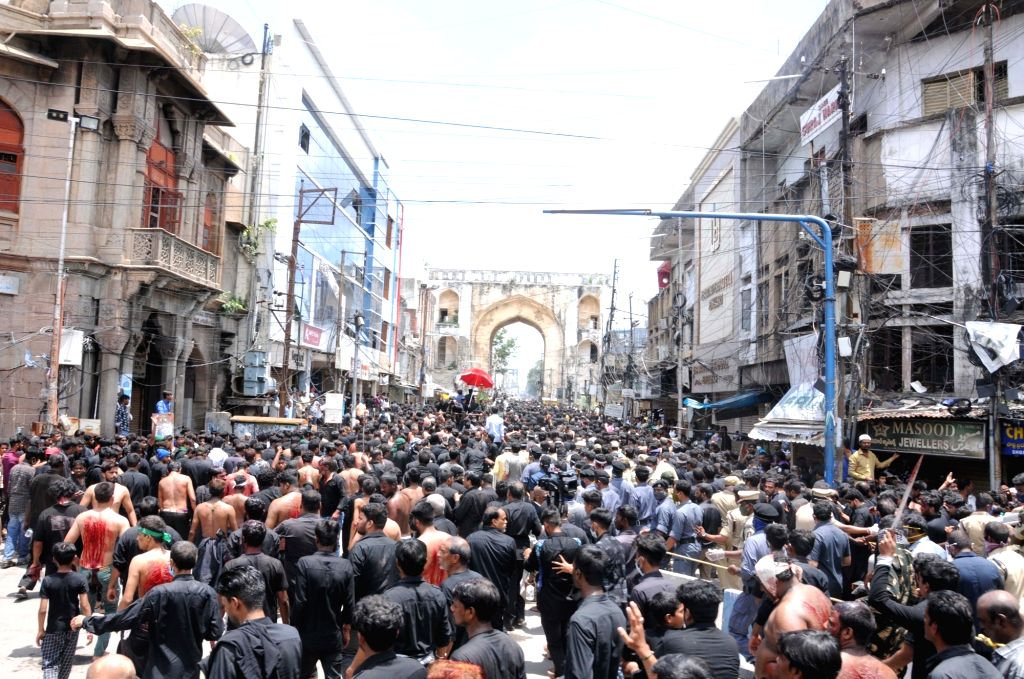 Massive Muharram Procession amid tight security in Hyderabad from Dabeerpura to Chaderghat avoiding corona pandemic, in Hyderabad on August 30, 2020.