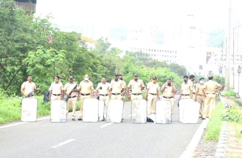 Massive protests erupted over the naming row of the Navi Mumbai International Airport, here, on Thursday, as police deployed tight security