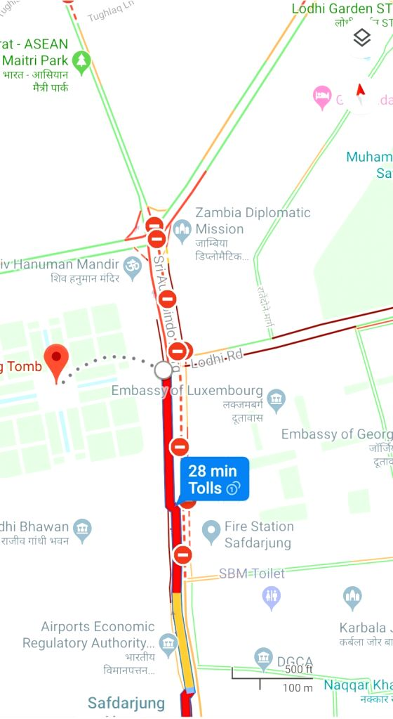 Massive traffic snarls were reported in central Delhi on Monday as hundreds of protesting students of JNU were stopped from marching towards Parliament which also led to them scuffling with the police.