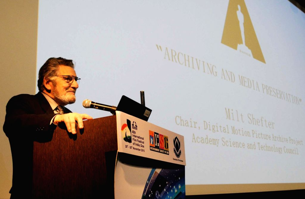 Master class by US film preservationist Milt Shefter on Film Archive and preservation, at the 46th International Film Festival of India (IFFI-2015), in Panaji, Goa on November 23, 2015.