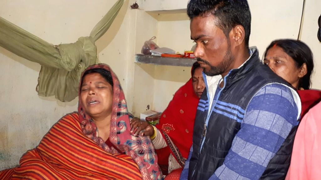 Masurhai (Bihar): Grief struck family members of Sanjay Kumar Sinha, one of the 45 CRPF personnel killed in a suicide attack by militants in Jammu and Kashmir's Pulwama district on 14th Feb 2019, in ... - Sanjay Kumar Sinha
