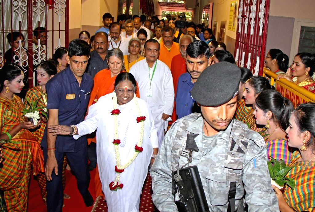 Mata Amritanandamayi during a programme at Matha Amrithanandamayi Mutt in Bengaluru on Feb 22, 2019.