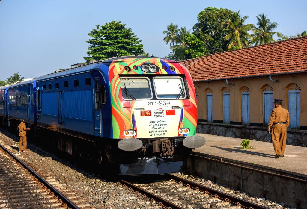 MATARA, April 9, 2019 - A train stops at the Matara Railway Station preparing to depart for Beliatta in Sri Lanka, April 8, 2019. The Sri Lankan government declared on Monday to open a railway line ...