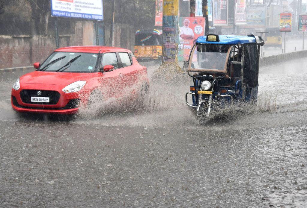 Mathura: Heavy rains lashed Mathura, on Feb 14, 2019. (Photo: IANS)