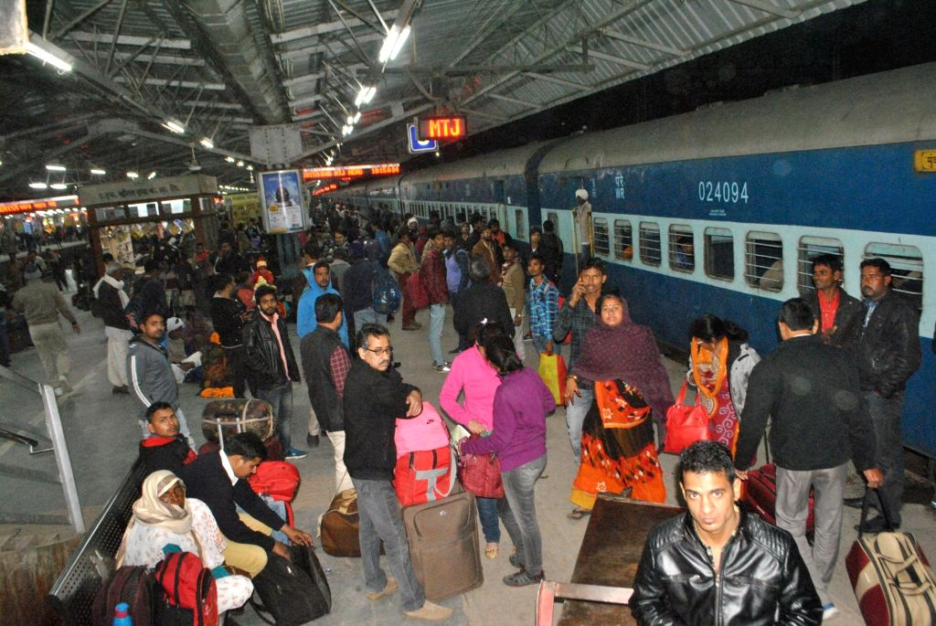 Mathura: Passengers stranded at Mathura railway station after railway services were disrupted due to Gujjar community's agitation to demand five per cent reservation in state jobs and educational institutions in Mathura on Feb 8, 2019. (Photo: IANS)