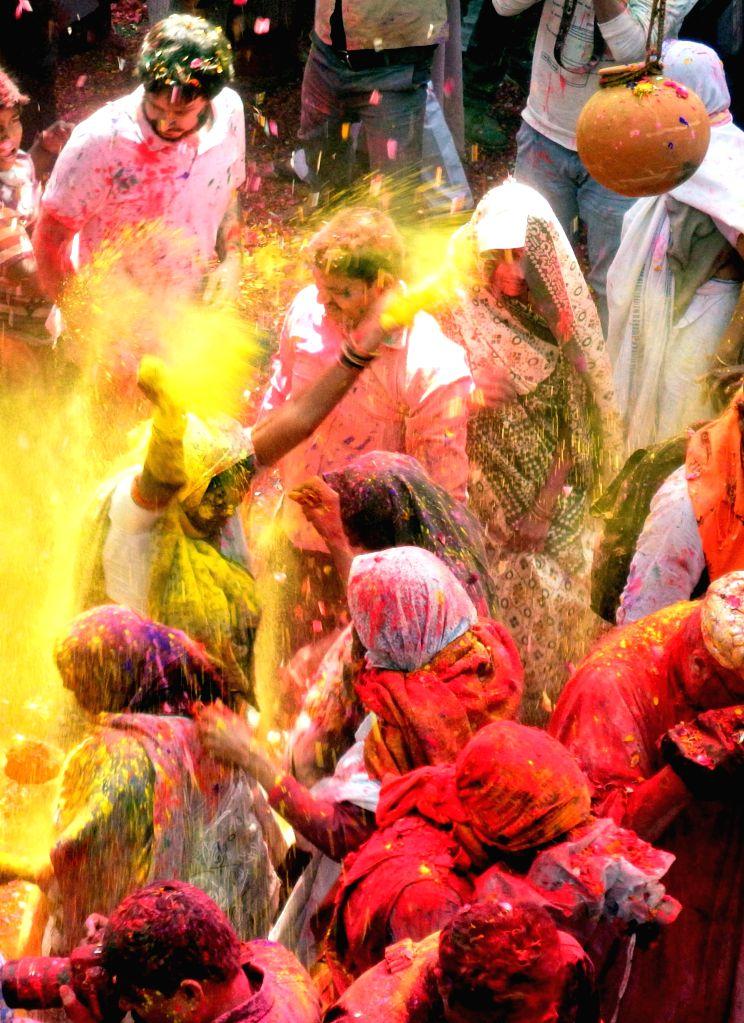 Widows celebrate Holi in Vrindavan of Uttar Pradesh's Mathura district  on March 3, 2015.