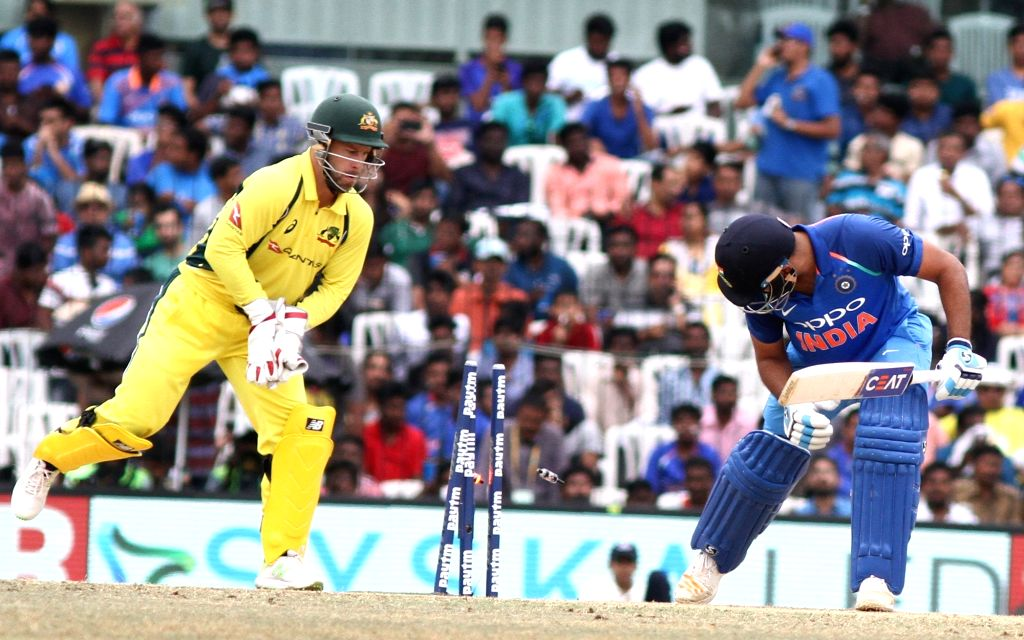 Matthew Wade of Australia dislodges the stumps during the first ODI cricket match between India and Australia at MA Chidambaram Stadium in Chennai on Sept 17, 2017.