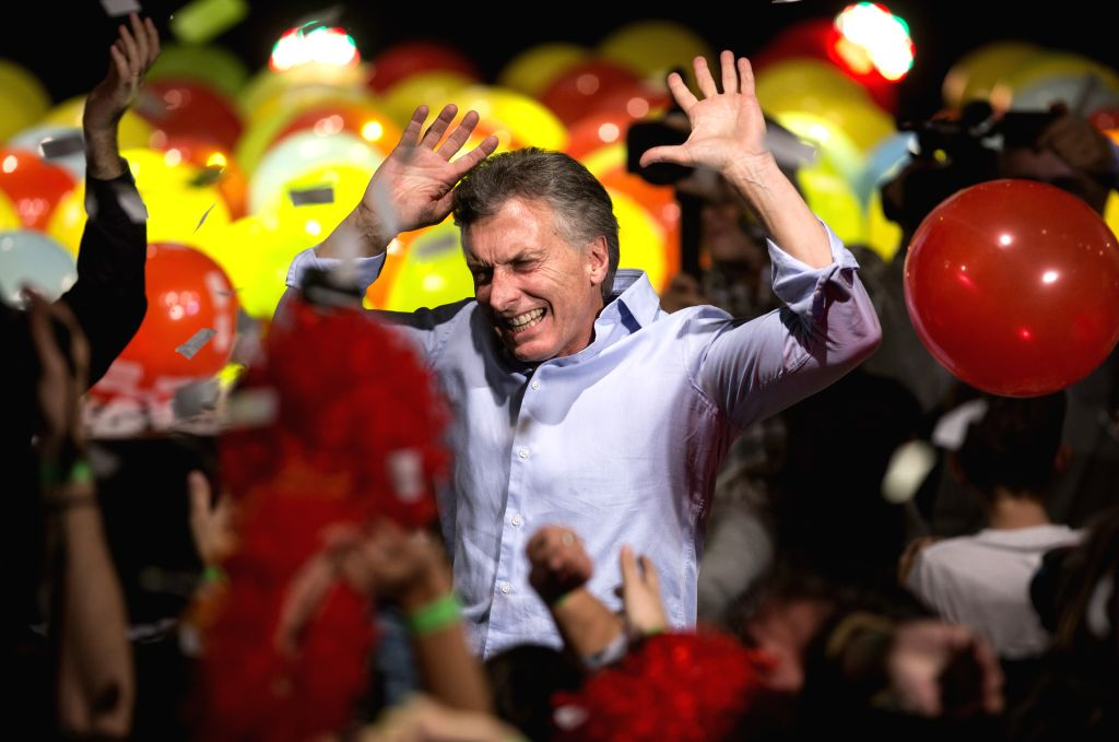 Mauricio Macri, current mayor of Buenos Aires and presidential candidate of the PRO party, reacts after mayoral run-off election in Buenos Aires, capital of ...