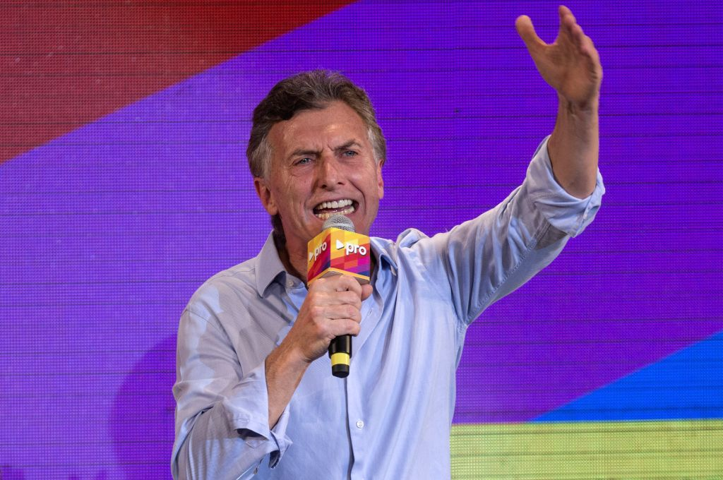 Mauricio Macri, current mayor of Buenos Aires and presidential candidate of the PRO party, delivers a speech after mayoral run-off election in Buenos Aires, ...