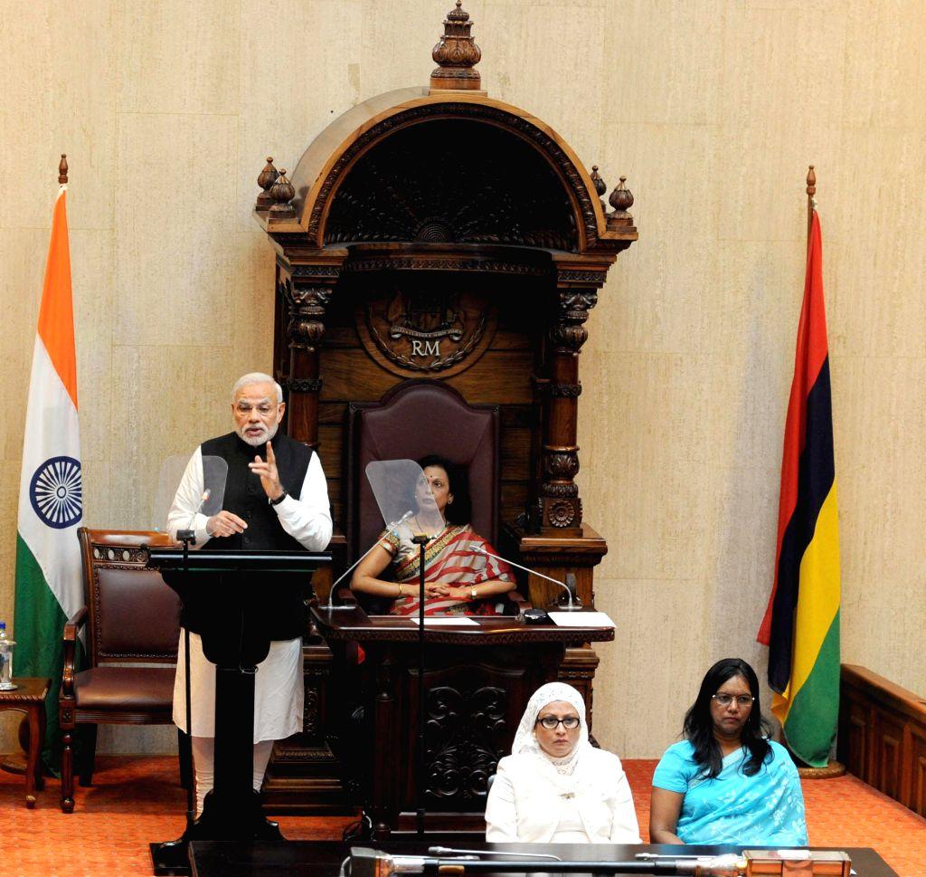 Prime Minister Narendra Modi addresses at the National Assembly of Mauritius on March 12 2015. - Narendra Modi