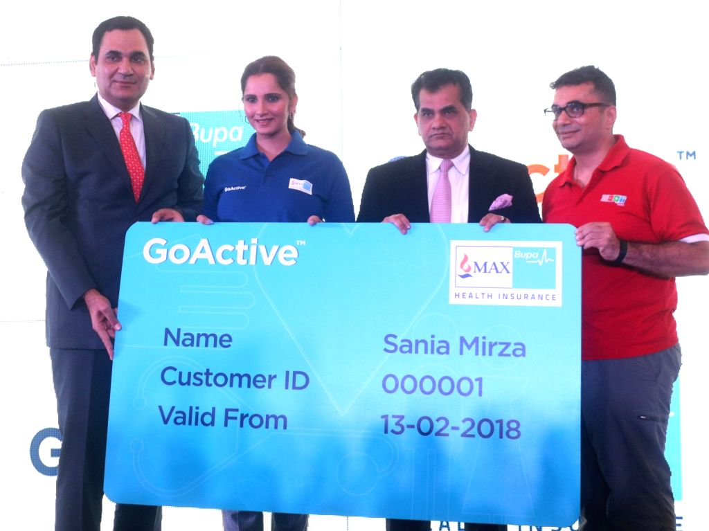 Max Bupa MD and CEO Ashish Mehrotra, NITI Aayog CEO Amitabh Kant and tennis player Sania Mirza during the launch of a health insurance plan in New Delhi on Feb 13, 2018. - Sania Mirza