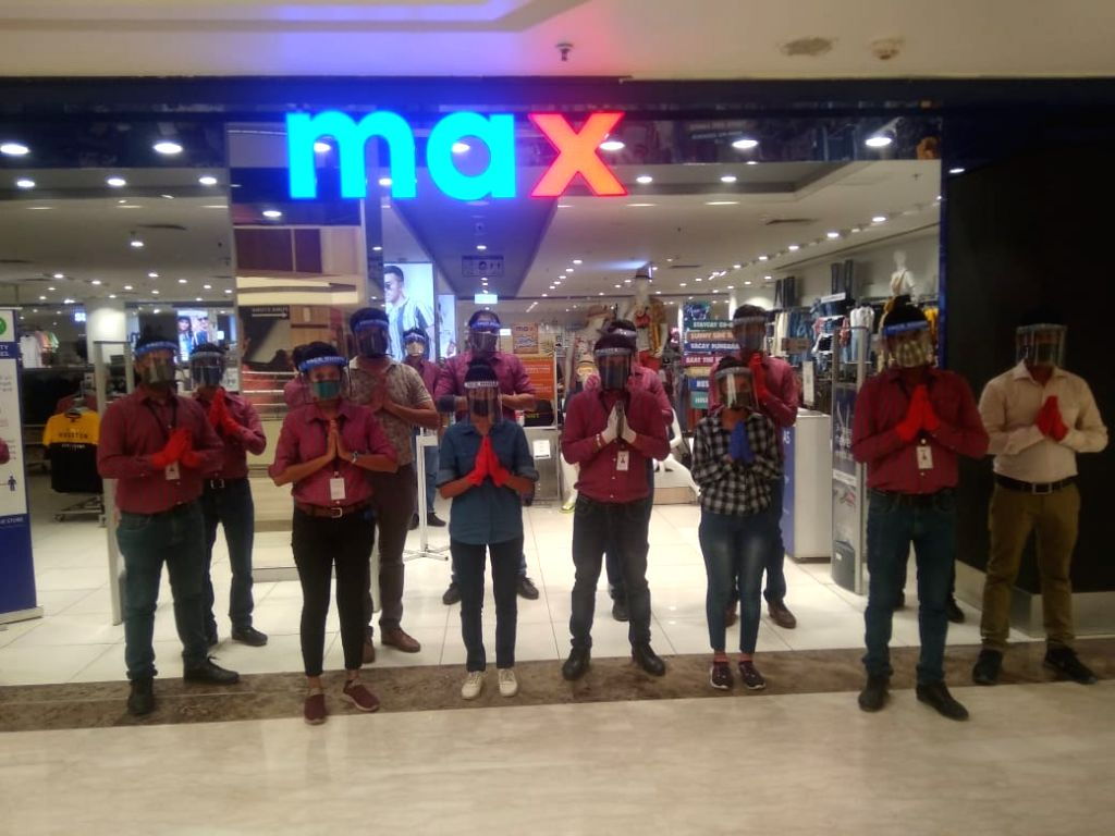 Max showroom getting ready to welcome customers, also praying Covid not come again at V3S Mall reopened.