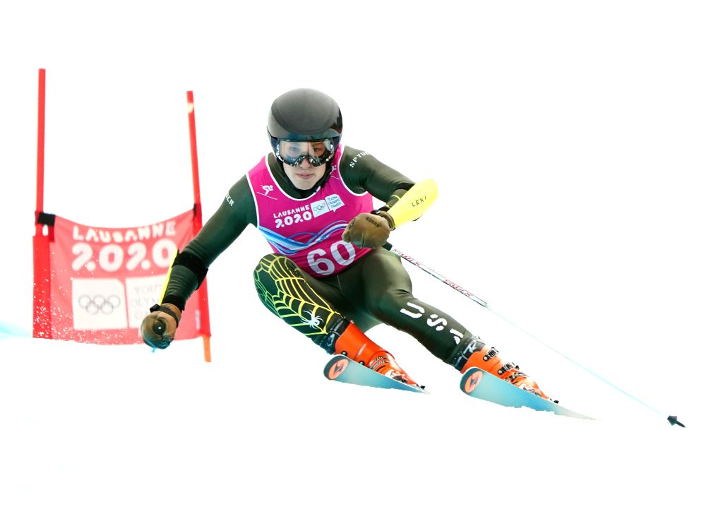 Maxx Parys of the United States competes during the Men's Super-G of Alpine Skiing at the 3rd Winter Youth Olympic Games (YOG) at Les Diablerets Alpine ...