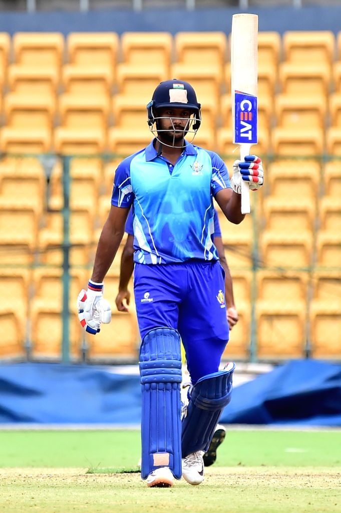 Mayank Agarwal of Karnataka during the final match of Vijay Hazare Trophy between Karnataka and Tamil Nadu at M. Chinnaswamy Stadium, in Bengaluru on Oct 25, 2019.