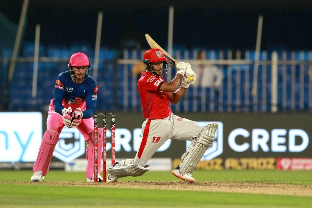 Mayank Agarwal of Kings XI Punjab plays a shot during match 9 of season 13 of the Indian Premier League (IPL) between Rajasthan Royals and Kings XI Punjab held at the Sharjah Cricket ...