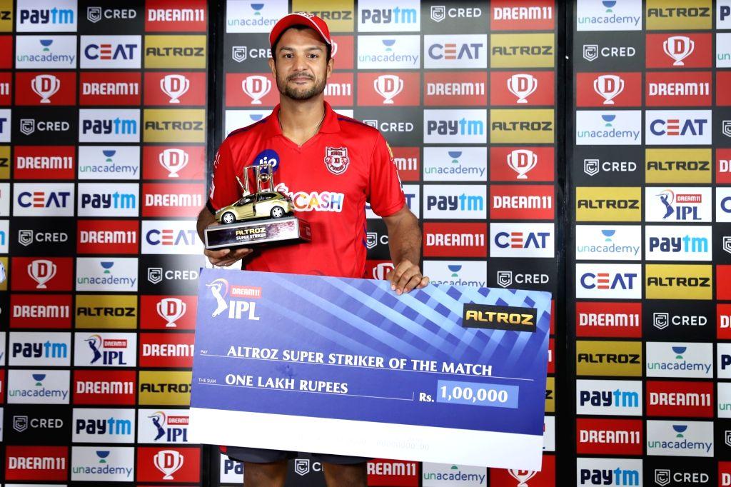 Mayank Agarwal of Kings XI Punjab receives the Tata Altroz Super Striker of the match during the presentation of the match 9 season 13 of the Dream 11 Indian Premier League (IPL) between ...