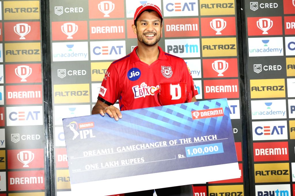 Mayank Agarwal received Dream 11 game changer of the match award during match 9 of season 13 of the Indian Premier League(IPL) between Rajasthan Royals and Kings XI Punjab held at the ...
