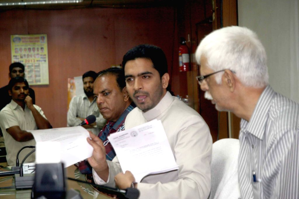 Mayor of Hyderabad Mohammed Majid Hussain addressing media at GHMC at Hyderabad on Feb. 6.