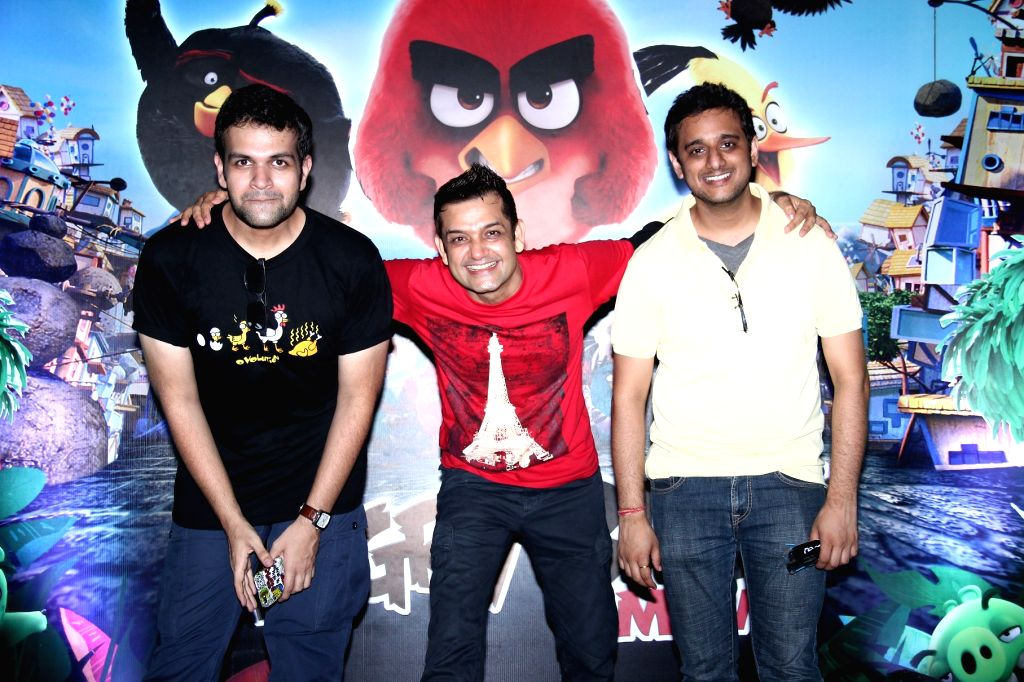 Mayur Puri, Taranveer Singh and Akshaye Rathi during the premier of film The Angry Birds in Mumbai, on May 26, 2016. - Taranveer Singh