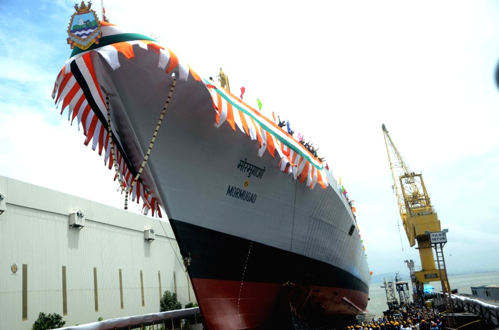 Mazagaon Dock Shipbuilders' (MDL) second destroyer ship under the Project 15B – Vishakhapatnam Class ships in Mumbai on Sept 17, 2016.