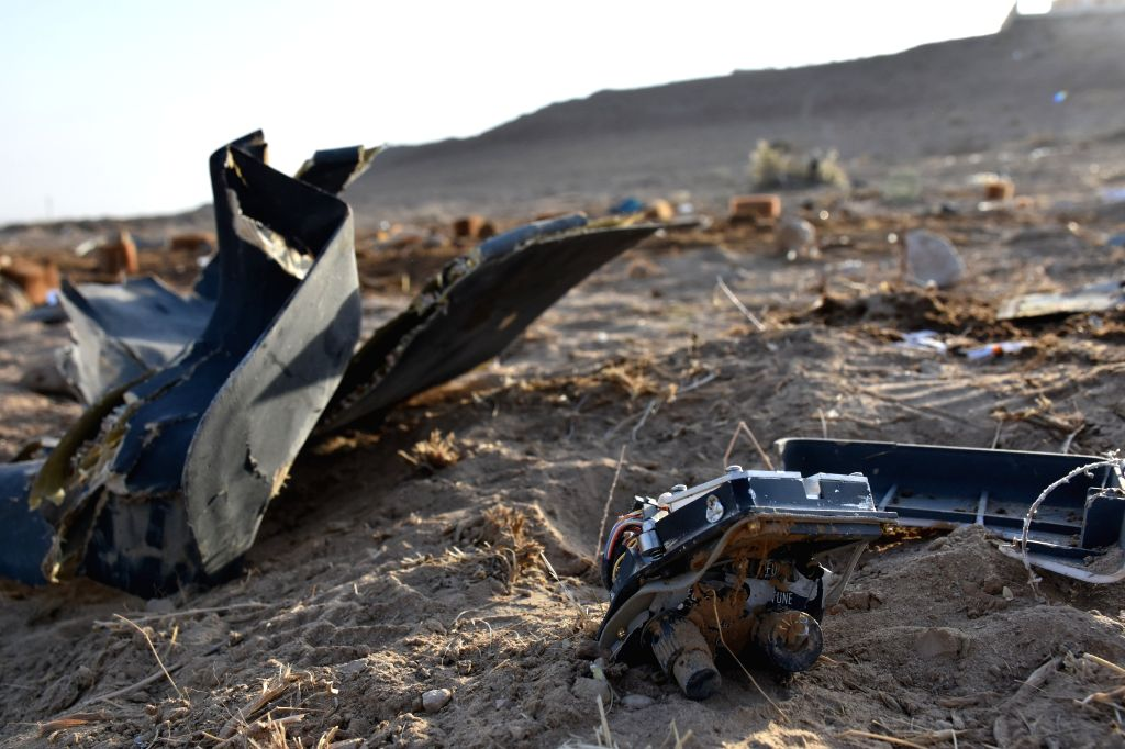 MAZAR-I-Photo taken on Oct. 16, 2019 shows the debris of a helicopter at the site of a crash in Durrah-i-Hairratan outskirts of Mazar-i-Sharif, Afghanistan. Seven ...