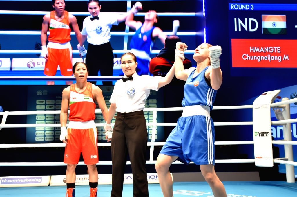 MC Mary Kom stunned as she settles for Bronze Medal at the 2019 edition of AIBA World Boxing Championships on Oct 12, 2019. - Mary Kom