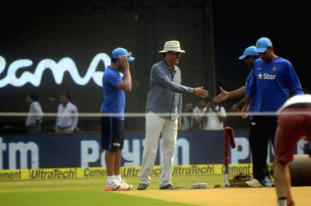 MCA`s vice-president and former India skipper Dilip Vengsarkar during a practice session ahead of the 5th ODI between India and South Africa at Wankhede Stadium in Mumbai, on Oct 24, 2015.