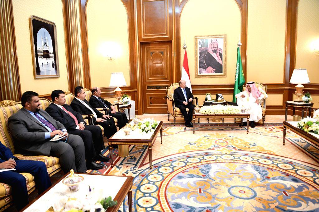 MECCA, Aug. 11, 2019 - Saudi King Salman bin Abdulaziz Al Saud (1st R) meets with Yemen's President Abdu-Rabbu Mansour Hadi (2nd R) in Mecca, Saudi Arabia, on Aug. 11, 2019. Yemen's President ...