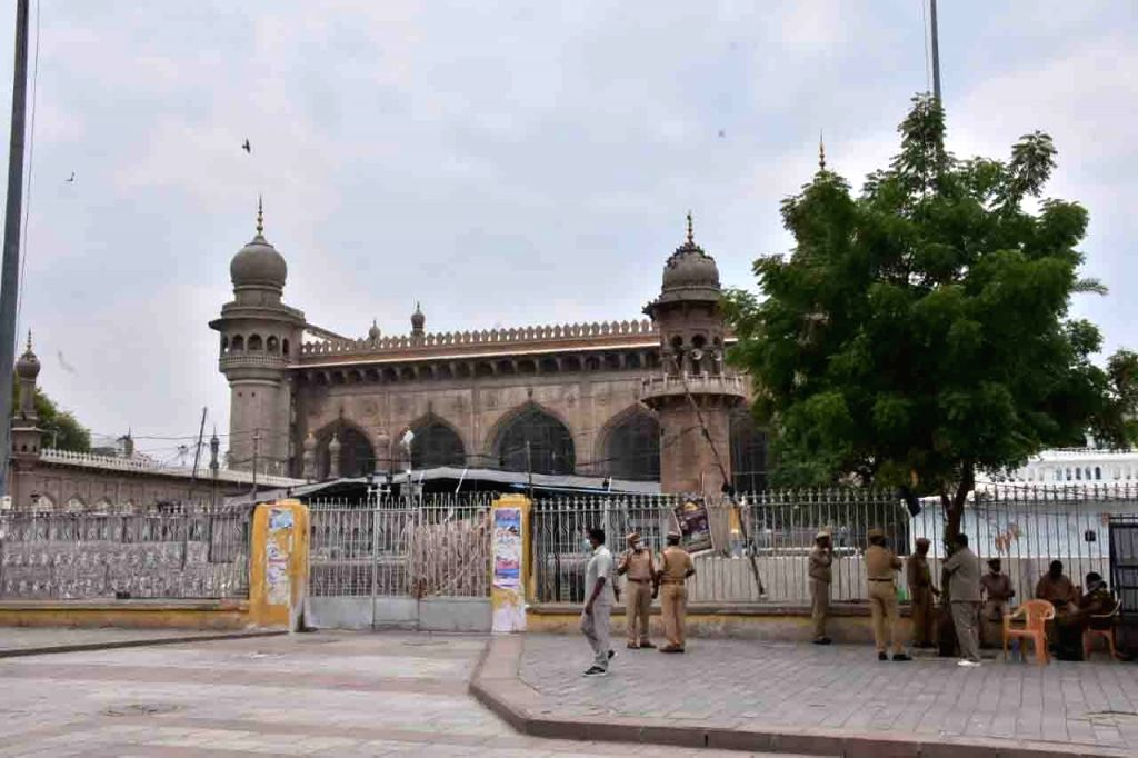 Mecca Masjid bears a deserted look during the extended nationwide lockdown imposed to mitigate the spread of coronavirus, in Hyderabad on May 8, 2020.